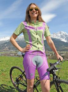 Radbekleidung Damen grün-lila Hose