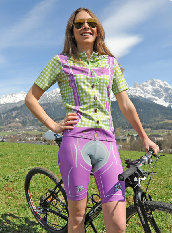Radbekleidung Damen grün-lila Set